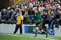 Walker Linares (3) of the Dartmouth Big Green on a throw in. Dartmouth defeated Monmouth 4-0 during the first round of the 2010 NCAA Division 1 Men's Soccer Championship on the Great Lawn of Monmouth University in West Long Branch, NJ, on November 18, 2010.