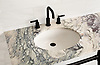Vanity top shown in polished Plumeria.