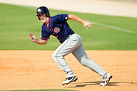 Bryce Harper #34 of the Hagerstown Suns takes off for second base against the Kannapolis Intimidators at Fieldcrest Cannon Stadium on May 30, 2011 in Kannapolis, North Carolina.   Photo by Brian Westerholt / Four Seam Images