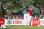 Paul Waring of England tees off the 18th hole during the 58th UBS Hong Kong Golf Open as part of the European Tour on 11 December 2016, at the Hong Kong Golf Club, Fanling, Hong Kong, China. Photo by Marcio Rodrigo Machado / Power Sport Images