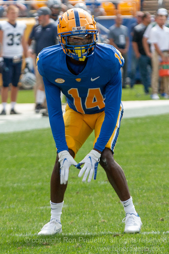 Pitt defensive back Marquis Williams. The Pitt Panthers defeated the New Hampshire Wildcats 77-7 at Heinz Field, Pittsburgh, Pennsylvania on September 25, 2021.