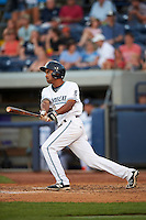 West Michigan Whitecaps center fielder Derek Hill (21) at bat during a game against the Burlington Bees on July 25, 2016 at Fifth Third Ballpark in Grand Rapids, Michigan.  West Michigan defeated Burlington 4-3.  (Mike Janes/Four Seam Images)