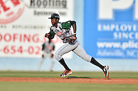 Augusta GreenJackets shortstop Lucius Fox (1) fields the ball during a game against the Asheville Tourists at McCormick Field on July 21, 2016 in Asheville, North Carolina. The GreenJackets defeated the Tourists 6-3. (Tony Farlow/Four Seam Images)