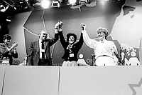 Montreal (Qc) Canada  file Photo -  march 1987 - NDP national convention in Montreal -- Ed Broadbent, New Democratic Party  (NPD) Leader (L)  Shirley Carr (M) and Marion dewar (R)