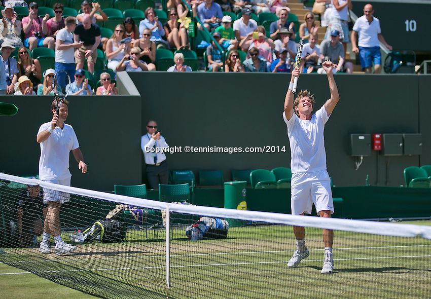 England, London, 28.06.2014. Tennis, Wimbledon, AELTC, Gentlemen's invitational doubles, Paul Haarhuis (NED) and his partner Jacco Eltingh (NED) (L) celebrating their win<br /> Photo: Tennisimages/Henk Koster