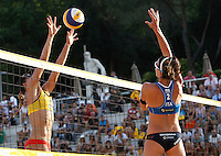 Australia's Louise Bawden in action against Italy's Greta Cicolari, right, at the Beach Volleyball World Tour Grand Slam, Foro Italico, Rome, 21 June 2013.<br /> UPDATE IMAGES PRESS/Isabella Bonotto