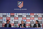 (L-R) Diego Pablo `Cholo´ Simeone, Enrique Cerezo and Jose Luis Caminero during Simeone´s contract renewal announcement as Atletico de Madrid´s coach until 2020, in Madrid, Spain. March 24, 2015. (ALTERPHOTOS/Victor Blanco)