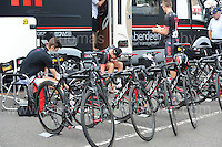 "The NFTO cycling team prepare for the race during the Abergavenny Festival of Cycling ""Grand Prix of Wales"" race on Sunday 17th 2016<br /> <br /> <br /> Jeff Thomas Photography -  www.jaypics.photoshelter.com - <br /> e-mail swansea1001@hotmail.co.uk -<br /> Mob: 07837 386244 -"