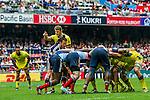 Australia vs France during the Cathay Pacific / HSBC Hong Kong Sevens at the Hong Kong Stadium on 29 March 2014 in Hong Kong, China. Photo by Xaume Olleros / Power Sport Images
