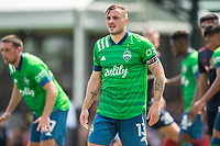 LAKE BUENA VISTA, FL - JULY 14: Jordan Morris #13 of the Seattle Sounders waiting on the corner during a game between Seattle Sounders FC and Chicago Fire at Wide World of Sports on July 14, 2020 in Lake Buena Vista, Florida.