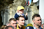 Young fans at sign on in Compiegne before the start of the 116th edition of Paris-Roubaix 2018. 8th April 2018.<br /> Picture: ASO/Pauline Ballet | Cyclefile<br /> <br /> <br /> All photos usage must carry mandatory copyright credit (© Cyclefile | ASO/Pauline Ballet)
