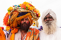Asia,India,Punjab, Anandpur Sahib, sikh pilgrim with his giant turban to the Holla Mohalla annual festival