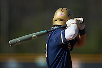 Riley Cheek (3) of the Queens Royals at bat during game two of a double-header against the Catawba Indians at Tuckaseegee Dream Fields on March 26, 2021 in Kannapolis, North Carolina. (Brian Westerholt/Four Seam Images)