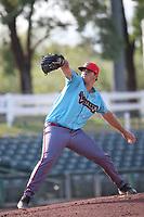 Liam Norris (36) of the los Toros de Visalia pitches against the Cucuys de San Bernardino at San Manuel Stadium on July 11, 2021 in San Bernardino, California. (Larry Goren/Four Seam Images)