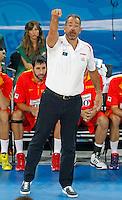 Spain`s national basketball team head coach Juan Orenga gestures during  European basketball championship Eurobasket 2013, round 2, group F basketball game between Greece and Spain in Stozice Arena in Ljubljana, Slovenia, on September 12. 2013. (credit: Pedja Milosavljevic  / thepedja@gmail.com / +381641260959)