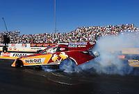 Jul. 29, 2011; Sonoma, CA, USA; NHRA funny car driver Melanie Troxel during qualifying for the Fram Autolite Nationals at Infineon Raceway. Mandatory Credit: Mark J. Rebilas-