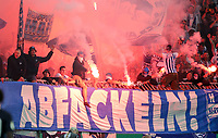 Mondaysspiele abfackeln - Pyrotechnik Bengalos Berliner fans of     <br /> / Sport / Football / DFB Pokal 1.round 3. Bundesliga Bundesliga /  2018/2019 / 20.08.2018 / BTSV Eintracht Braunschweig vs. Hertha BSC Berlin / DFL regulations prohibit any use of photographs as image sequences and/or quasi-video. /<br />       <br />    <br />  *** Local Caption *** © pixathlon<br /> Contact: +49-40-22 63 02 60 , info@pixathlon.de