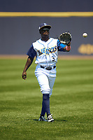 Wilmington Blue Rocks second baseman D.J. Burt (3) during warmups before the first game of a doubleheader against the Frederick Keys on May 14, 2017 at Daniel S. Frawley Stadium in Wilmington, Delaware.  Wilmington defeated Frederick 10-2.  (Mike Janes/Four Seam Images)