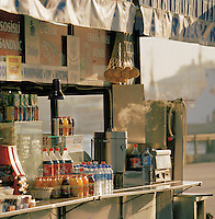 A food stall at dawn near the Galata Bridge over the Bosphorus, Istanbul, Turkey