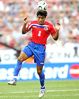 Mauricio Solis (8) heads the ball for Costa Rica. Poland defeated Costa Rica 2-1 in their FIFA World Cup Group A match at FIFA World Cup Stadium, Hanover, Germany, June 20, 2006.