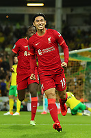 21st September 2021; Carrow Road, Norwich, England; EFL Cup Footballl Norwich City versus Liverpool; Takumi Minamino of Liverpool celebrates his goal for 0-1