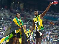 11.08.2012, Olympia Stadion, London, GBR, Olympia 2012, 4 x 100m Staffel, Herren, Finale, im Bild Team Jamaica Nesta Carter (JAM), Michael Frater (JAM), Yohan Blake (JAM), Usain Bolt (JAM) // Team Jamaica Nesta Carter (JAM), Michael Frater (JAM), Yohan Blake (JAM), Usain Bolt (JAM) after Men's 4 x 100m Relay Final at the 2012 Summer Olympics at Olympic Stadium, London, United Kingdom on 2012/08/11. EXPA Pictures © 2012, PhotoCredit: EXPA/ Johann Groder# .Olimpiadi Londra 2012.London 2012 Olympic Games.foto Insidefoto - Italy ONLY