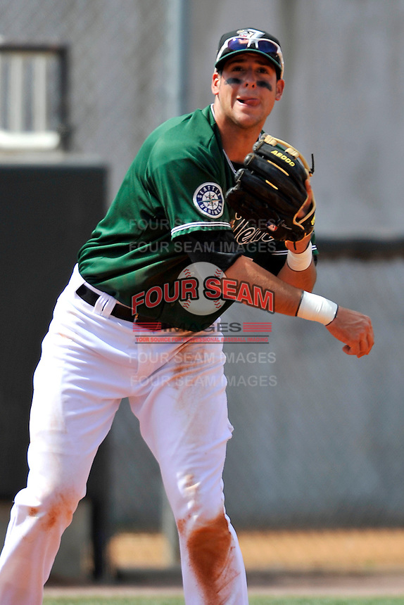 Alex Liddi #5 of the West Tenn Diamond Jaxx in action versus the Mississippi Braves at Pringles Park April 18, 2010 in Jackson, Tennessee. (Photo by Grant Halverson / Four Seam Images)