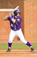 Ryan Retz (34) of the High Point Panthers at bat against the Charlotte 49ers at Willard Stadium on February 20, 2013 in High Point, North Carolina.  The 49ers defeated the Panthers 12-3.  (Brian Westerholt/Four Seam Images)