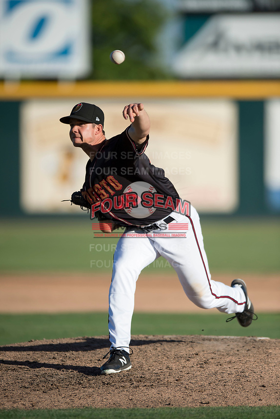Modesto Nuts relief pitcher Colin Rodgers (45) delivers a pitch to the plate during a California League game against the San Jose Giants at John Thurman Field on May 9, 2018 in Modesto, California. San Jose defeated Modesto 9-5. (Zachary Lucy/Four Seam Images)