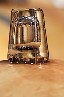 glass bung on barrel clos des quatre vents margaux medoc bordeaux france