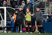 Chester, PA - Sunday December 10, 2017: Jeremy Gunn, Derek Waldeck. Stanford University defeated Indiana University 1-0 in double overtime during the NCAA 2017 Men's College Cup championship match at Talen Energy Stadium.