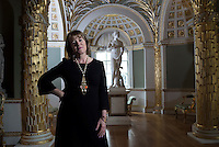 UK. London  3rd November 2015<br /> Hannah Rothschild photographed in the Palm room at Spencer House.<br /> Andrew Testa for the New York Times