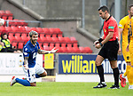 St Johnstone v Livingston….10.08.19      McDiarmid Park     SPFL <br />Richard Foster appelas to ref Andrew Dallas after fouling Lyndon Dykes<br />Picture by Graeme Hart. <br />Copyright Perthshire Picture Agency<br />Tel: 01738 623350  Mobile: 07990 594431