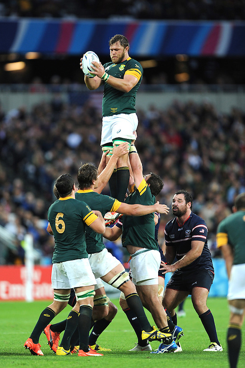 07 October 2015: Duane Vermeulen of South Africa wins the lineout during Match 31 of the Rugby World Cup 2015 between South Africa and USA - Queen Elizabeth Olympic Park, London, England (Photo by Rob Munro/CSM)