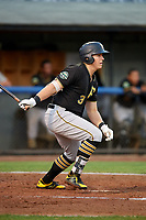 Bristol Pirates first baseman Mason Martin (3) follows through on a swing during the second game of a doubleheader against the Bluefield Blue Jays on July 25, 2018 at Bowen Field in Bluefield, Virginia.  Bristol defeated Bluefield 5-2.  (Mike Janes/Four Seam Images)