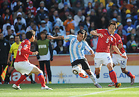 Argentina defeated South Korea, 4-1, in both teams' second match of play in Group B of the 2010 FIFA World Cup. The match was played at Soccer City in Johannesburg, South Africa June 17th.