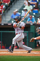 Syracuse Chiefs catcher Jhonatan Solano (23) at bat during a game against the Buffalo Bisons on July 31, 2016 at Coca-Cola Field in Buffalo, New York.  Buffalo defeated Syracuse 6-5.  (Mike Janes/Four Seam Images)