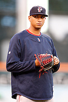 July 28, 2009:  Pitcher Jose Vaquedano of the Pawtucket Red Sox during a game at Coca-Cola Field in Buffalo, NY.  Pawtucket is the International League Triple-A affiliate of the Boston Red Sox.  Photo By Mike Janes/Four Seam Images
