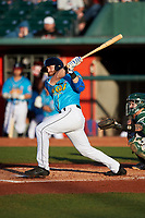 Lansing Lugnuts Johnny Aiello (4) at bat during a Midwest League game against the Beloit Snappers at Cooley Law School Stadium on May 4, 2019 in Lansing, Michigan. The Lugnuts wore their Copa de la Diversión jerseys, becoming the Lansing Locos for the evening. Beloit defeated Lansing 2-1. (Zachary Lucy/Four Seam Images)