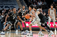 WASHINGTON, DC - FEBRUARY 19: Terrell Allen #12 of Georgetown dribbles up court during a game between Providence and Georgetown at Capital One Arena on February 19, 2020 in Washington, DC.
