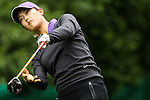 American Michelle Wie tees off on the thirteenth tee during Round 2 of the LPGA Championship at Locust Hill Country Club in Pittsford, NY on June 8, 2013