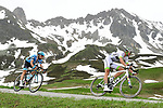 Brice Feillu (FRA) Team Fortuneo-Samsic and Polka Dot Jersey Dario Cataldo (ITA) Astana Pro Team in action during Stage 7 of the 2018 Criterium du Dauphine 2018 running 136km from Moutiers to Saint Gervais Mont Blanc, France. 10th June 2018.<br /> Picture: ASO/Alex Broadway | Cyclefile<br /> <br /> <br /> All photos usage must carry mandatory copyright credit (© Cyclefile | ASO/Alex Broadway)