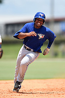 GCL Blue Jays first baseman Juan Kelly (41) running the bases during a game against the GCL Tigers on June 30, 2014 at Tigertown in Lakeland, Florida.  GCL Blue Jays defeated the GCL Tigers 3-1.  (Mike Janes/Four Seam Images)