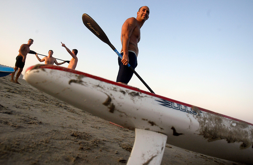 Dr. Michael Barrows of Sea Girt awaits the start of the Surfski event at the First Annual Asbury Park Beach Bar Lifeguard Competition held at the 3rd Avenue beach in Asbury Park.  When Barrows is not competing as a lifeguard, he is a pediatric oncologist at Monmouth Medical Center in Long Branch.  ASBURY PARK, NJ  8/4/07  8:21:47 PM  PHOTO BY ANDREW MILLS