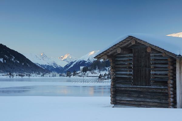 Lake of Davos and Log Cabin, Davos, Switzerland, Europe