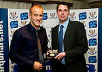 St Johnstone FC Players Awards Night...01.05.11  Lovatt Hotel Perth..Danny Grainger being presented with the We Are Perth Gola of the Season Award by Stuart Ebdy.Picture by Graeme Hart..Copyright Perthshire Picture Agency.Tel: 01738 623350  Mobile: 07990 594431