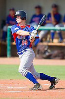 Carson Kelly #14 of NABF follows through on his swing against American Legion at the 2011 Tournament of Stars at the USA Baseball National Training Center on June 26, 2011 in Cary, North Carolina.  NABF defeated American Legion 5-0. (Brian Westerholt/Four Seam Images)