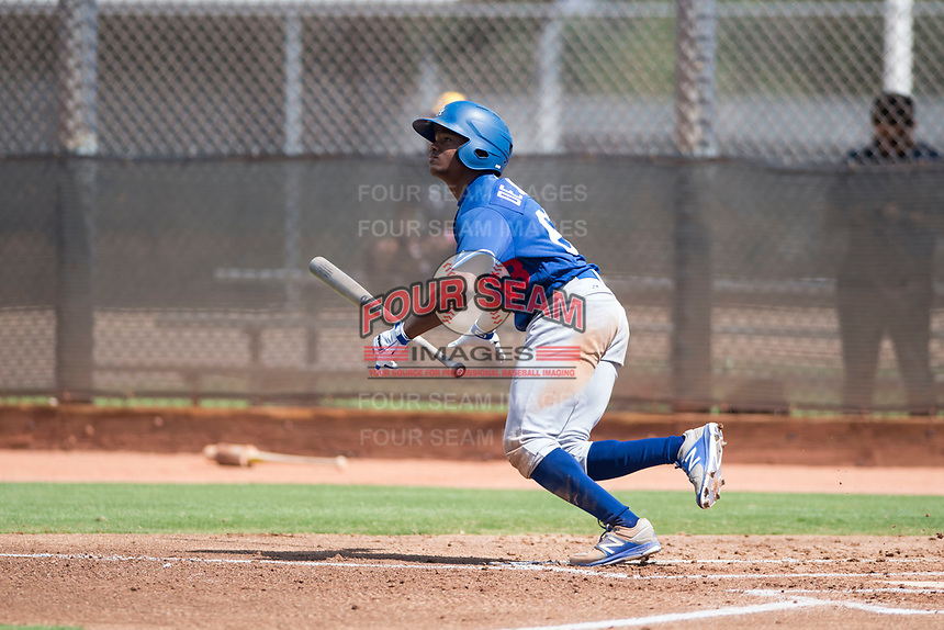 Los Angeles Dodgers outfielder Aldrich De Jongh (63) starts down the first base line during an Instructional League game against the Milwaukee Brewers at Maryvale Baseball Park on September 24, 2018 in Phoenix, Arizona. (Zachary Lucy/Four Seam Images)