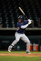 AZL Padres 1 Victor Nova (2) at bat during an Arizona League game against the AZL Cubs 1 on July 5, 2019 at Sloan Park in Mesa, Arizona. The AZL Cubs 1 defeated the AZL Padres 1 9-3. (Zachary Lucy/Four Seam Images)