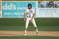Will Schroeder (18) (UNC) of the High Point-Thomasville HiToms takes his lead off of second base against the Statesville Owls at Finch Field on July 19, 2020 in Thomasville, NC. The HiToms defeated the Owls 21-0. (Brian Westerholt/Four Seam Images)